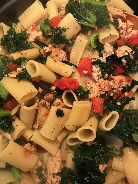 Chicken Sausage, Kale and Burrata Rigatoni