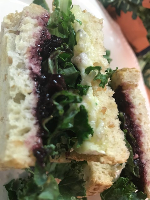 Brie, Blueberry Preserves and Kale Toasted Sandwich