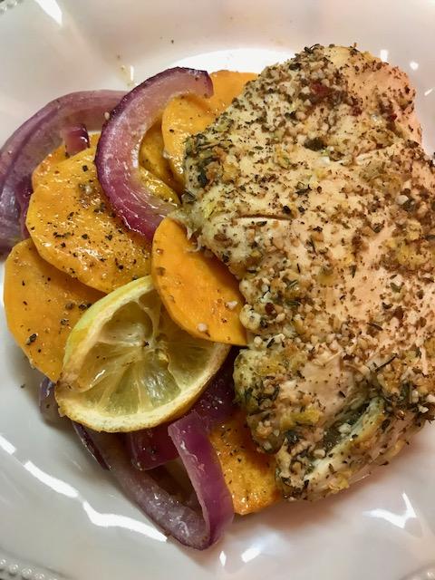 Balsamic Chicken and Sweet Potato Sheet Pan DinnerRecipe